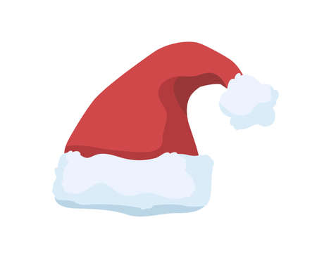 Christmas hat vector illustration. Festive Santa Claus costume element. Red plush hat with pompom on top isolated on white background. Xmas holiday celebration headdress with fluffy fur.