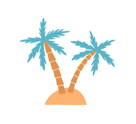 Island vector illustration. Palm tree on exotic island isolated on white background. Small area of land entirely surrounded by water with tropical flora. Coconut tree with green leaves.