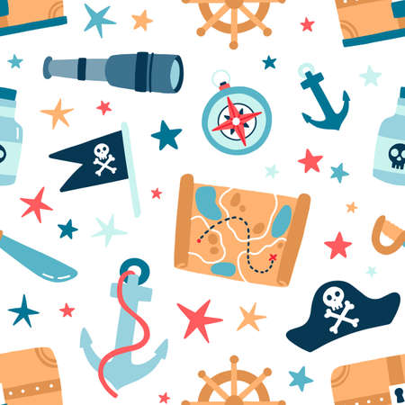 Pirate sea flat vector seamless pattern. Sailing backdrop. Anchor, map, compass, spyglass, bottle with rum and steering wheel on white background. Black pirate flag with crossed bones texture.
