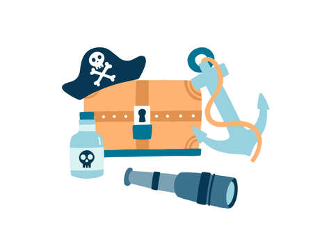 Pirate items flat vector illustration. Pirate hat with skull and crossed bones emblem. Wooden treasure chest. Anchor, glass bottle of rum and spyglass on white background. Symbols of piracy