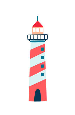 Lighthouse flat vector illustration. Cartoon navigational aid tower isolated on white background. Striped red, white and blue coloured building with lamps and lenses for ship navigation