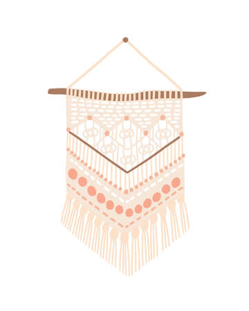 Macrame modern design vector illustration. Wall hanging decoration with thread fringe, cord and beads. Handmade knot craft with geometric pattern isolated on white background. Wickerwork home decor. Ilustração