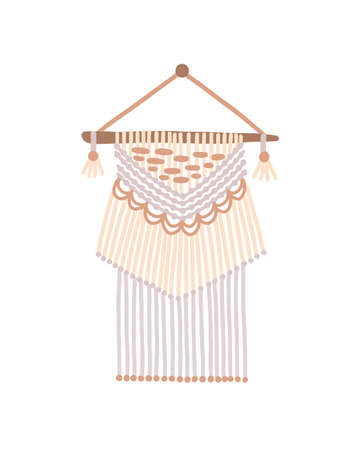 Macrame design vector illustration. Wall hanging decoration with thread fringe and wooden beads on ends. Bohemian style, ethnic handmade knot craft decor isolated on white background Ilustração