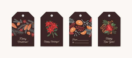 Christmas greeting tags set. Festive colorful xmas cards with botanical elements collection. Poinsettia, mistletoe, star anise, cones and spruce ,coniferous branches on dark background. Ilustrace