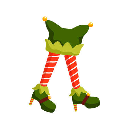 New year elf feet flat illustration. Santa helper in high heel shoes cartoon character. Cute christmas fairy isolated on white background. Elfin legs in striped red socks with xmas hat. 向量圖像