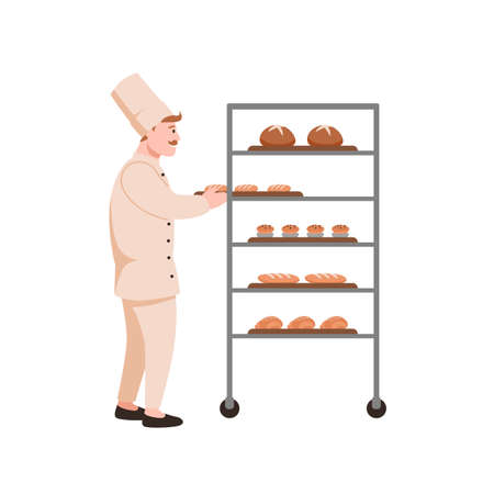 Smiling baker with bread flat vector illustration. Bread maker with bakery assortment isolated on white background. Bakehouse worker in hat cartoon character. Fresh buns and loaves