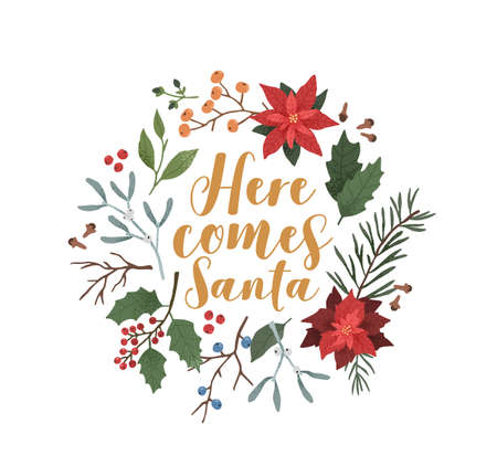 Here comes Santa illustration. Xmas festive backdrop flat vector. Botanical winter season background with poinsettia, mistletoe, ilex, mountain ash, cones, spruce and coniferous branches.