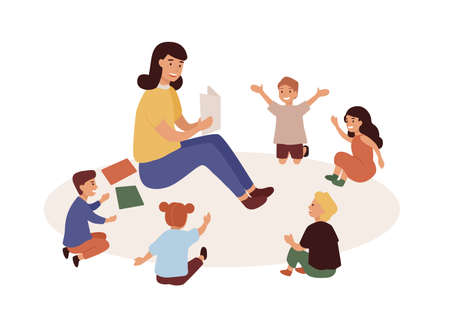Smiling kindergarten teacher and kids flat vector illustration. Woman tutor and preschoolers reading in nursery. Babysitter and children cartoon characters. Primary education, preschool development Ilustracja