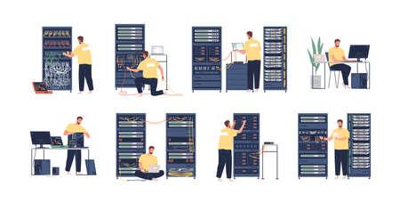 Conjunto de ilustraciones planas de administrador del sistema. Reparación de computadoras, ajuste de red. Personaje de dibujos animados de administrador de sistemas aislado sobre fondo blanco. Servicio de mantenimiento del centro de datos.