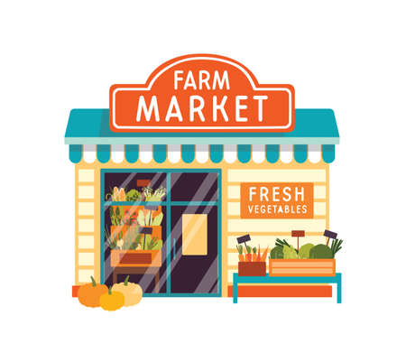 Farm market flat vector illustration. Food store building exterior. Vegetable shop facade with signboard isolated on white background. Kiosk with fresh veggies. Grocery with corn at showcase. Illusztráció