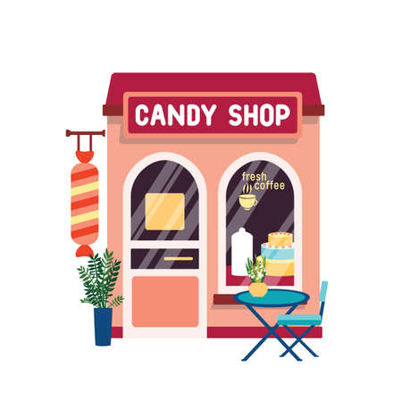 Candy shop flat vector illustration. Confectionery store facade with cake at showcase isolated on white background. Sweets selling concept. Modern coffeehouse exterior with table on street.