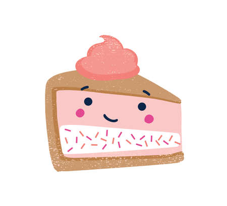 Piece of cake flat vector illustration. Cute dessert with funny smiling face and whipped cream on top isolated on white background. Delicious dessert, sweet treat. Strawberry cheesecake