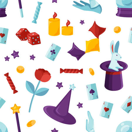 Equipment for magic show seamless pattern. Purple wizard cylinder with white rabbit, illusionist white gloves, magical stick and playing cards backdrop. Wrapping paper flat vector design