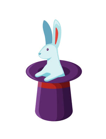 Bunny in magician hat flat vector illustration. Magic trick, mystery entertainment. Rabbit in magical headwear isolated on white background. Wizard show equipment. Illusionist performance symbol. Illusztráció