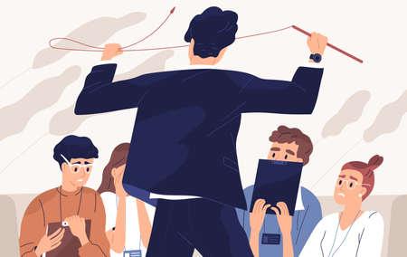 Capo arrabbiato, illustrazione vettoriale piatta dell'insegnante irato. Relazioni di squadra, atmosfera di paura, atteggiamento nei confronti dei subordinati, urla al concetto di studenti. Uomo con frusta e personaggi dei cartoni animati del personale spaventato