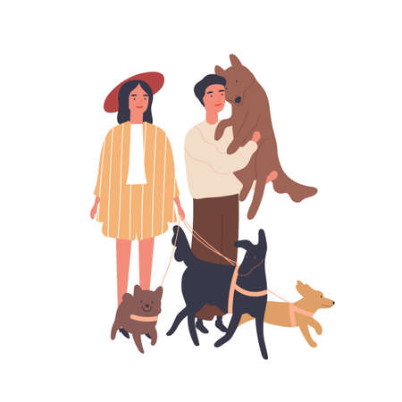 Dog lovers couple flat vector illustration. Young girl and boy with pets, happy family. Relationship, love and kindness, family idyll, animal care concept. Married pair cartoon characters.