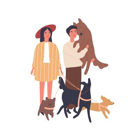 Ilustración de vector plano de pareja de amantes de los perros. Niña y niño con mascotas, familia feliz. Relación, amor y amabilidad, idilio familiar, concepto de cuidado animal. Personajes de dibujos animados de pareja casada.