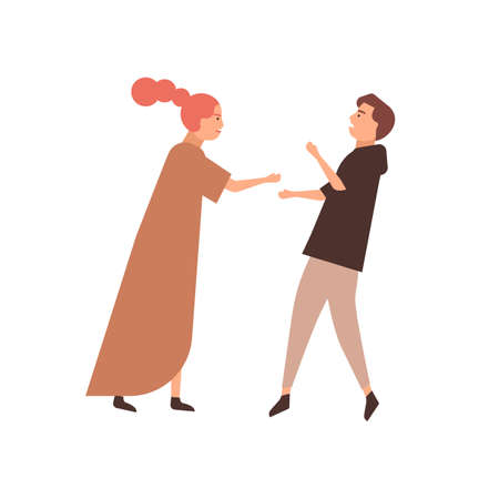 Young couple flat vector illustration. Family conflict, bickering pair, quarreling husband and wife. Relationship problems, understanding lack concept. Fighting man and woman cartoon characters. Vector Illustratie