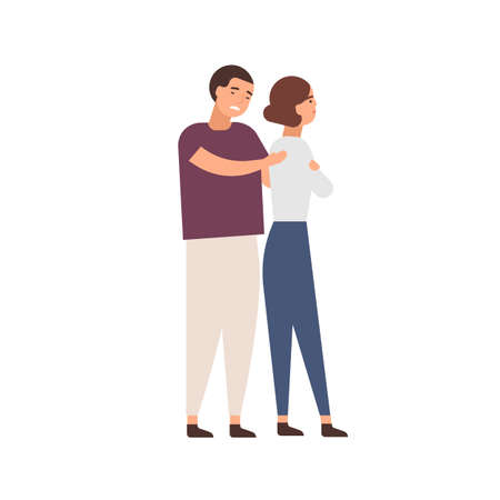 Family row flat vector illustration. Young couple feeling aggrieved. Quarrel result, resentment, relationship problems, conflict concept. Apologizing man and offended woman cartoon characters