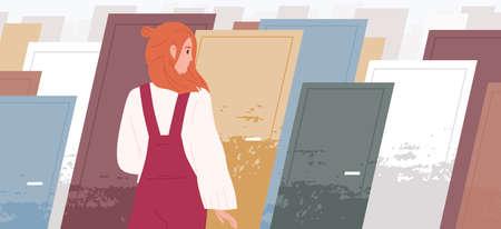 Lebensentscheidungen Konzept flache Vektor-Illustration. Frauenzeichentrickfilm-figur, die vor mehreren bunten Türen steht. Den richtigen Weg finden, den Weg wählen. Psychologische Wahl. Richtige und falsche Entscheidungen. Vektorgrafik