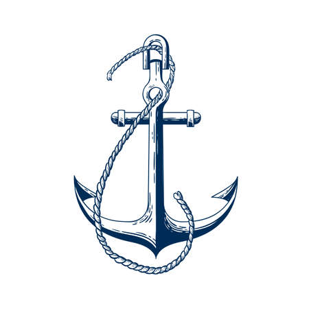 Ship anchor vector illustration. Vessel mooring device. Boat accessory, holding raft in place item, heavy ship attribute. Monochrome forged metal construction isolated on white background. Illustration