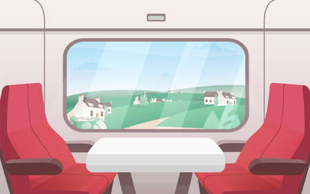 View from train window flat vector illustration. Modern railway carriage interior with comfortable red chairs and small coffee table. Train compartment. Transportation, travelling, road