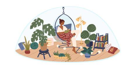 Ilustración de vector plano de concepto de espacio personal. Tiempo propio. Niña sentada en una cómoda silla colgante, cubierta con una manta y un libro de lectura. Jardín interior, diseño interior lindo y cómodo.