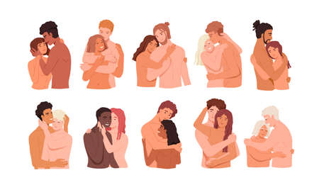 Couples intimate life vector illustrations set. Sexual relations in pairs, physicality, tenderness, cuddle, prelude concept. Young and adult people, homo and hetero couples cartoon characters. Ilustração Vetorial