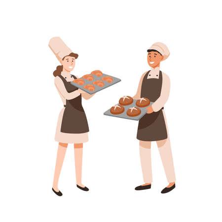 Ilustracja wektorowa płaski młodych piekarzy. Cukierniarze ze słodyczami, cukiernicy płci męskiej i żeńskiej z piekarnią. Zawód, wynik pracy. Mężczyzna i kobieta z tacami do pieczenia postaci z kreskówek