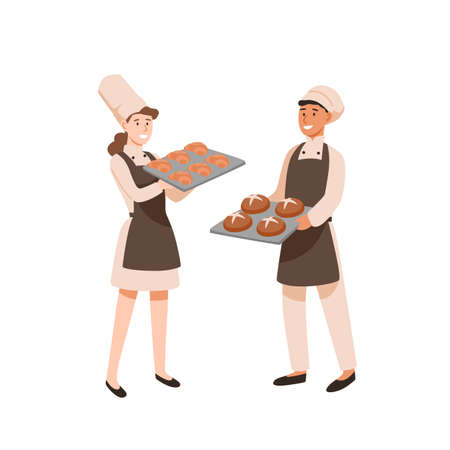 Young bakers flat vector illustration. Pastry cooks with sweet-stuff, male and female confectioners with bakery. Profession, work result. Man and woman with baking trays cartoon characters