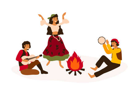 Gypsy traditional entertainment flat vector illustration. Romani people dancing and playing folk musical instruments isolated on white. Men and women in national costumes cartoon characters