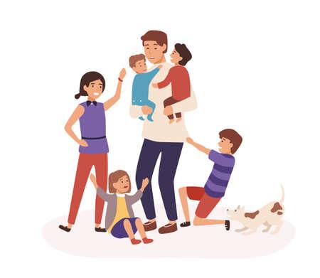 Müder Vater mit vielen Kindern flache Vektorgrafiken. Papa sitzt zu Hause mit Babys. Müdigkeit, Müdigkeit, Burnout-Konzept. Übermüdeter Mann und nachgiebige Kinderzeichentrickfiguren