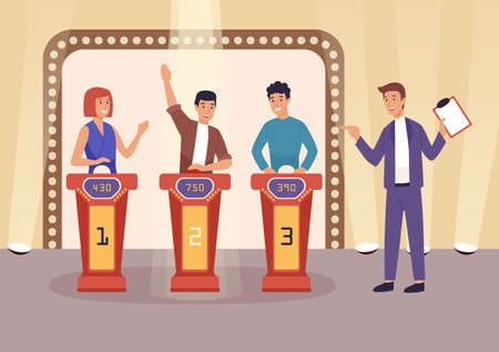 Quiz TV show flat vector illustration. People cartoon characters playing television game show, answering questions and solving puzzles. Show host with clipboard staying near players. Ilustracje wektorowe