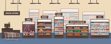 Supermarket interior flat vector illustration. Grocery store, shelves with food products. Cartoon food shop aisle. Bakery, meat, fruits and vegetables, special offers and milk signboards