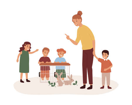 Kindergarten teacher with preschoolers group flat vector illustration. Pet care lesson, play with rabbits. Woman with preschool kids, smiling kindergartener and children cartoon characters