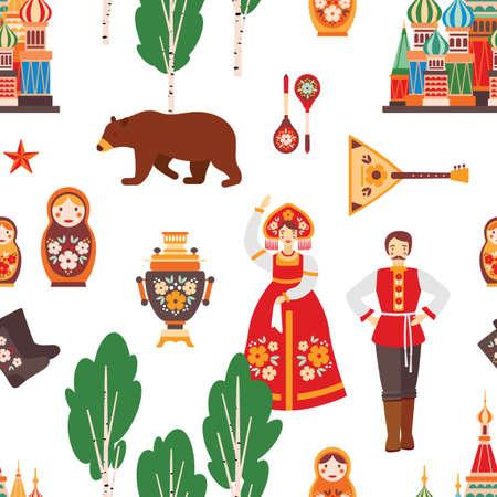 Russian folk seamless pattern vector illustration. Birch tree, Moscow Kremlin, nesting doll, samovar and balalaika texture. Russian colorful traditional clothing, bear and felt boots.