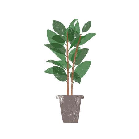 Usine de caoutchouc en illustration vectorielle plane de pot en céramique. Ficus, plante d'intérieur à feuilles persistantes en pot à la mode isolée sur fond blanc. Fleur d'intérieur, verdure décorative domestique. Élément de conception de buisson en caoutchouc Vecteurs
