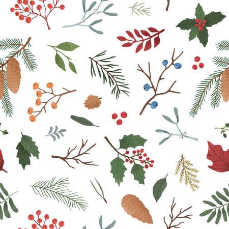 Patrón transparente de vector plano de plantas de invierno. Dibujado a mano ramitas de muérdago, fresas e ilustraciones de piñas. Diseño de papel tapiz navideño tradicional. Elegante estampado textil botánico de invierno. Ilustración de vector