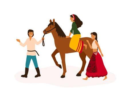 Juventud gitana divirtiéndose ilustración vectorial plana. Amigos romaníes, nómadas que viajan montando personajes de dibujos animados a caballo. Joven y niña a caballo. Estilo de vida nómada, concepto de libertad.