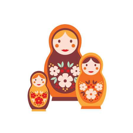 Nesting doll flat vector illustration. Colorful matrioshka, isolated on white background. Wooden dolls of decreasing size placed one inside another. Russian traditional toy for children.