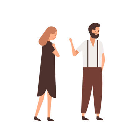 Boyfriend leaving girlfriend flat vector illustration. Depressed woman following indifferent partner cartoon characters. Husband saying goodbye, farewell gesture to wife. Couple breakup concept