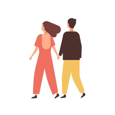 Pareja cogidos de la mano ilustración vectorial plana. Jóvenes que datan de personajes de dibujos animados. Pareja amorosa relación romántica. Novio caminando con novia. Felices novios en vista posterior de paseo Ilustración de vector