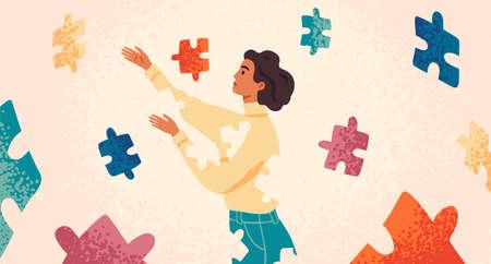 Zelfgenezing, herstel platte vectorillustratie. Vrouw assembleert zichzelf stripfiguur. Meisje voelt zich incompleet, op zoek naar passende puzzelstukjes. Geestelijke revalidatie, psychotherapie concept.