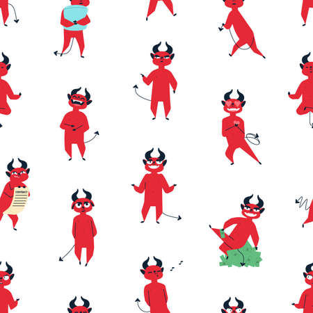 Funny red devil flat vector seamless pattern. Comic satan, cute demon with horns decorative texture. Hell mascot, mythical creature in different poses illustrations. Creative wallpaper, textile design.