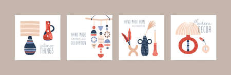 Handcrafted ceramics flat vector illustration set. Modern decor accessories collection. Decorative pottery, stoneware workshop social media banners pack. Handmade faience interior decorations. Vettoriali