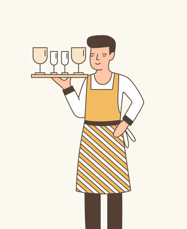 Waiter serving wine flat vector illustration. Young boy in apron holding tray with wineglasses cartoon character. Experienced restaurant staff member, cafe employee. Male catering service worker.