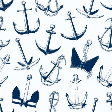 Sea anchors vector seamless pattern. Different ship armature types monochrome texture. Sailboat accessories, nautical vessel equipment monocolor illustration. Textile, wallpaper, wrapping paper design.
