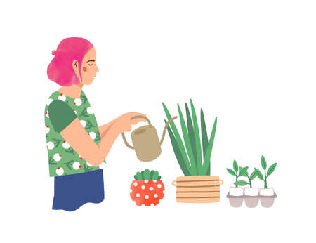 Woman watering houseplants flat vector illustration. Young lady taking care of potted plants cartoon character. Hipster girl with watering can, amateur horticulture expert. Urban gardening concept.