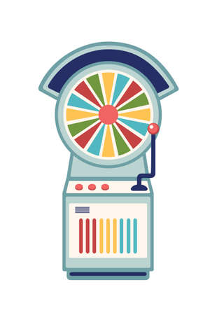 Wheel of fortune flat vector illustration. Casino slot machine with multicolor spinning wheel and lever arm isolated on white background. Amusement park recreation, gambling design element