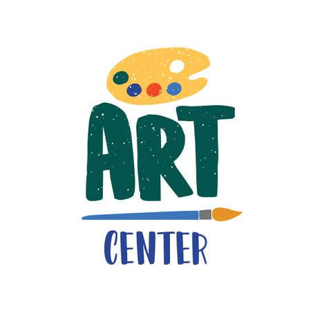 Logo vectoriel plat du centre d'art. Illustration de la palette et du pinceau isolée sur fond blanc. Cours de dessin, création de logotype de cours de peinture. Concept de bannière de médias sociaux de cours pour enfants créatifs.